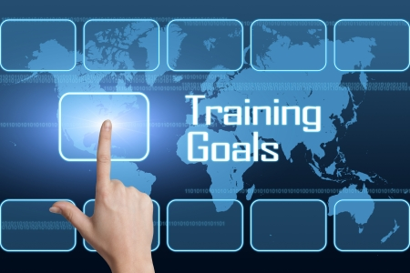 Training Goals concept with interface and world map on blue background Stock Photo - 25174025