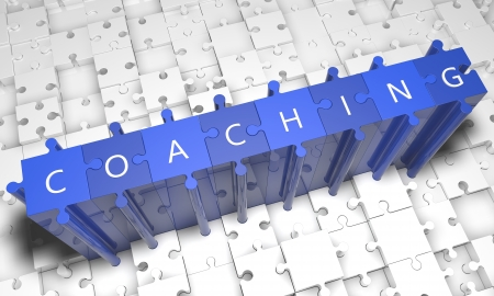 Coaching - puzzle 3d render illustration with text on blue jigsaw pieces stick out of white pieces Standard-Bild