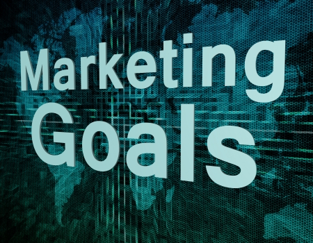 Marketing Goals text concept on green digital world map background  photo