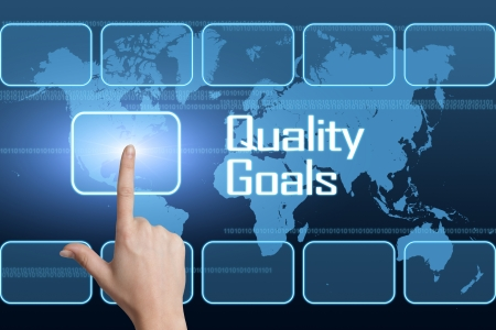 Quality Goals concept with interface and world map on blue background Stock Photo
