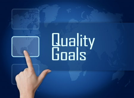 Quality Goals concept with interface and world map on blue background photo