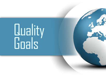 Quality Goals concept with globe on white background photo