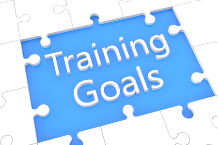 Training Goals - puzzle 3d render illustration with word on blue background illustration