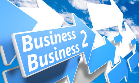 b2b: Business 2 Business 3d render concept with blue and white arrows flying in a blue sky with clouds