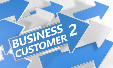 Business 2 Customer 3d render concept with blue and white arrows flying over a white background. photo