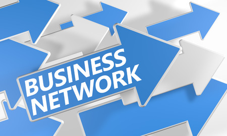 Business Network 3d render concept with blue and white arrows flying over a white background. Stock Photo - 25656989