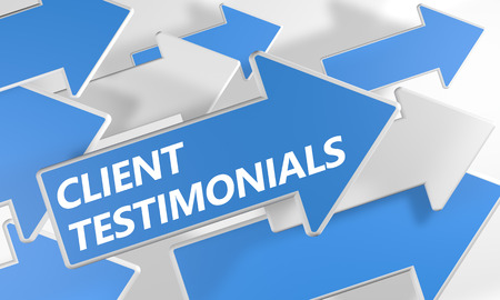 authenticate: Client Testimonials 3d render concept with blue and white arrows flying over a white background. Stock Photo