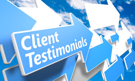 Client Testimonials 3d render concept with blue and white arrows flying in a blue sky with clouds