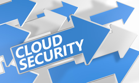 Cloud Security 3d render concept with blue and white arrows flying over a white background. photo