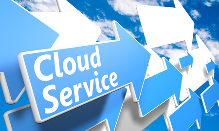 Cloud Service 3d render concept with blue and white arrows flying in a blue sky with clouds photo
