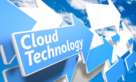 Cloud Technology 3d render concept with blue and white arrows flying in a blue sky with clouds photo