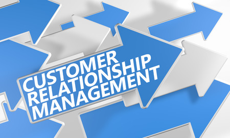 Customer Relationship Management 3d render concept with blue and white arrows flying over a white background. photo