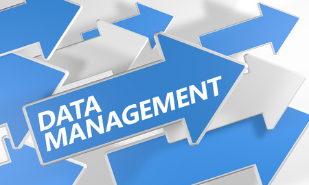 Data Management 3d render concept with blue and white arrows flying over a white background. photo