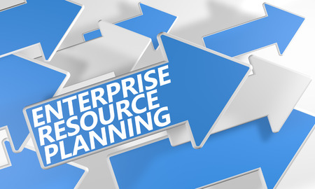 Enterprise Resource Planning 3d render concept with blue and white arrows flying over a white background. photo