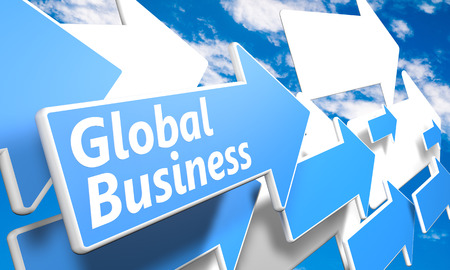 Global Business 3d render concept with blue and white arrows flying in a blue sky with clouds photo