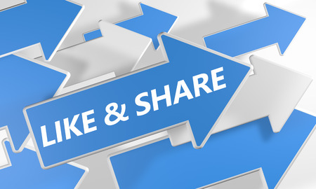 like and share 3d render concept with blue and white arrows flying over a white background. photo