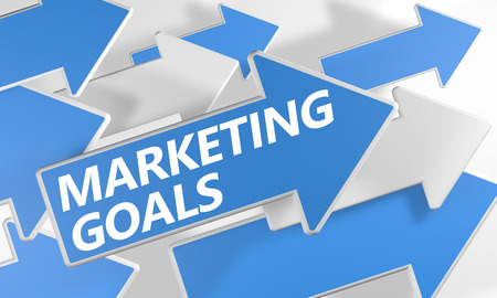 Marketing Goals 3d render concept with blue and white arrows flying over a white background. photo