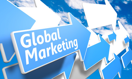 Global Marketing 3d render concept with blue and white arrows flying in a blue sky with clouds photo