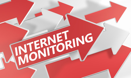 Internet Monitoring 3d render concept with red and white arrows flying over a white background. photo