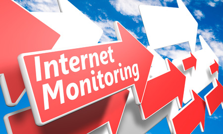 Internet Monitoring 3d render concept with red and white arrows flying in a blue sky with clouds photo