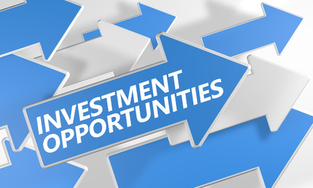 fonds: Investment opportunities 3d render concept with blue and white arrows flying over a white background.