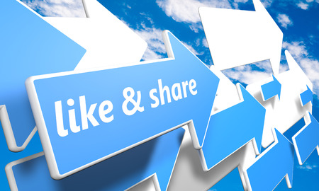 like and share 3d render concept with blue and white arrows flying in a blue sky with clouds Stock Photo - 25657232