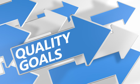 Quality Goals 3d render concept with blue and white arrows flying over a white background. photo