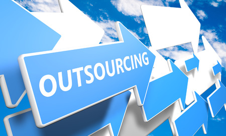Outsourcing 3d render concept with blue and white arrows flying upwards in a blue sky with clouds photo