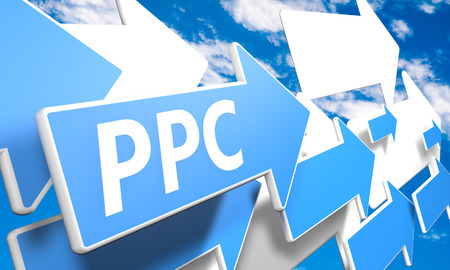 Pay per Click 3d render concept with blue and white arrows flying upwards in a blue sky with clouds