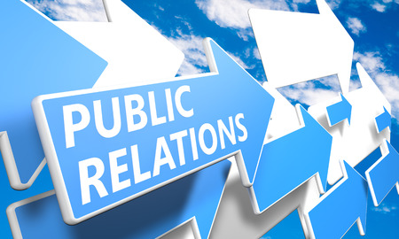 Public Relations 3d render concept with blue and white arrows flying upwards in a blue sky with clouds photo