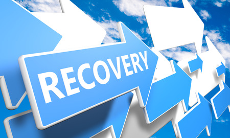 Recovery 3d render concept with blue and white arrows flying upwards in a blue sky with clouds photo