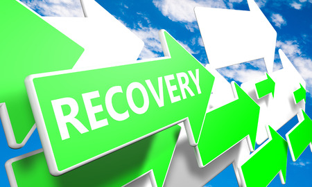 Recovery 3d render concept with green and white arrows flying upwards in a blue sky with clouds photo