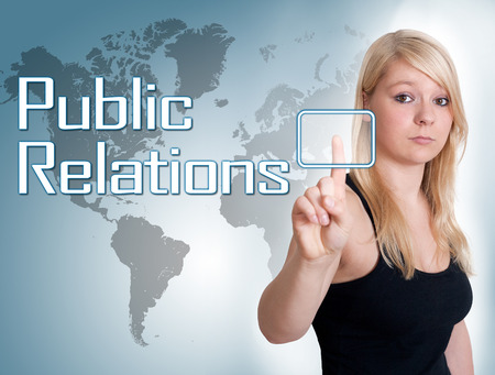 Young woman press digital Public Relations button on interface in front of her photo