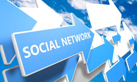 Social Network 3d render concept with blue and white arrows flying upwards in a blue sky with clouds photo