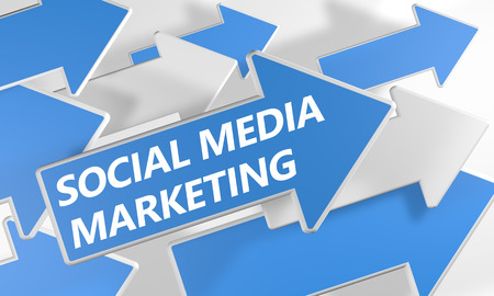 smm: Social Media Marketing 3d render concept with blue and white arrows flying upwards over a white background.