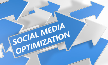 smo: Social Media Optimization 3d render concept with blue and white arrows flying upwards over a white background.