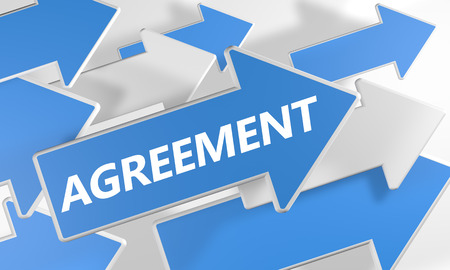 concur: Agreement 3d render concept with blue and white arrows flying over a white background. Stock Photo