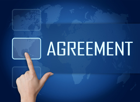 concur: Agreement concept with interface and world map on blue background