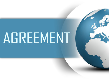 unanimous: Agreement concept with globe on white background Stock Photo