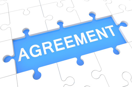 Agreement - puzzle 3d render illustration with word on blue background