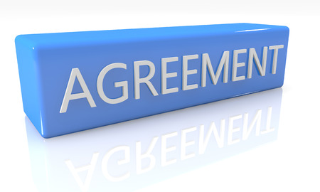 unanimous: 3d render blue box with Agreement on it on white background with reflection Stock Photo