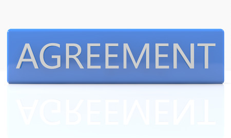 concur: 3d render blue box with Agreement on it on white background with reflection Stock Photo
