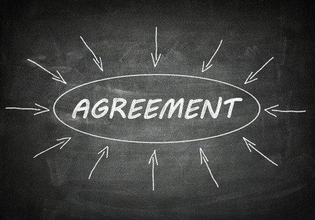 concur: Agreement process information concept on blackboard. Stock Photo