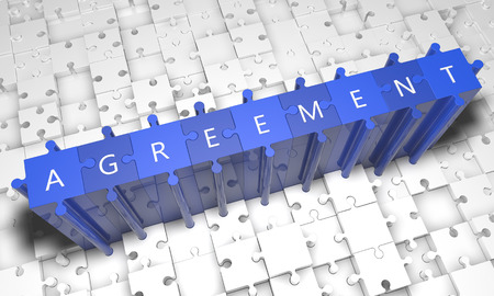 Agreement - puzzle 3d render illustration with text on blue jigsaw pieces stick out of white pieces