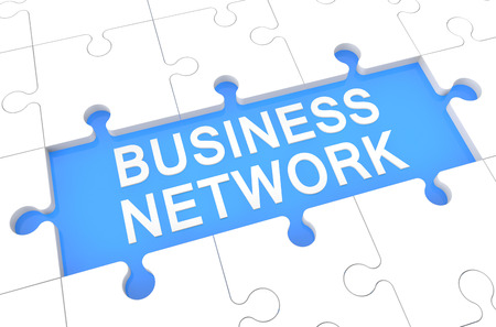 Business Network - puzzle 3d render illustration with word on blue background Stock Illustration - 26230406