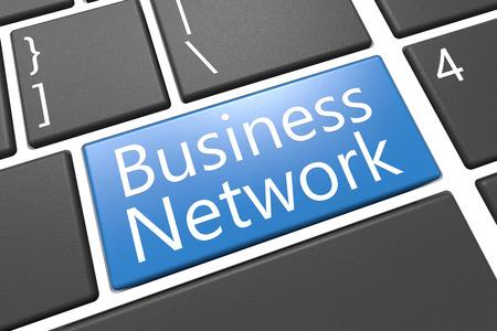 Business Network - keyboard 3d render illustration with word on blue key Stock Illustration - 26230353