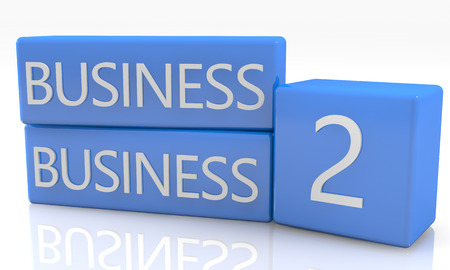 business it: 3d render blue box with Business to Business it on white background with reflection Stock Photo