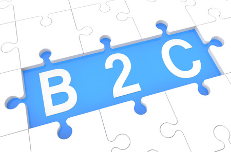 Business to Customer - puzzle 3d render illustration with word on blue background illustration