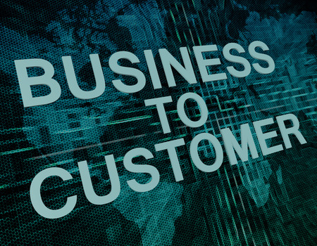 Business to Customer text concept on green digital world map background  photo