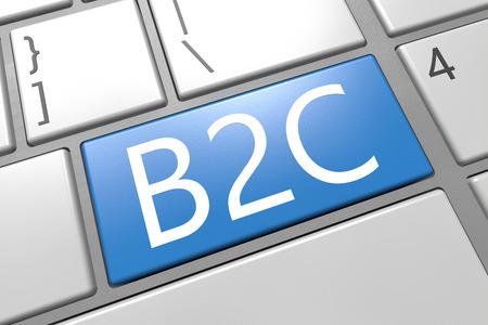 Business to Customer - keyboard 3d render illustration with word on blue key illustration